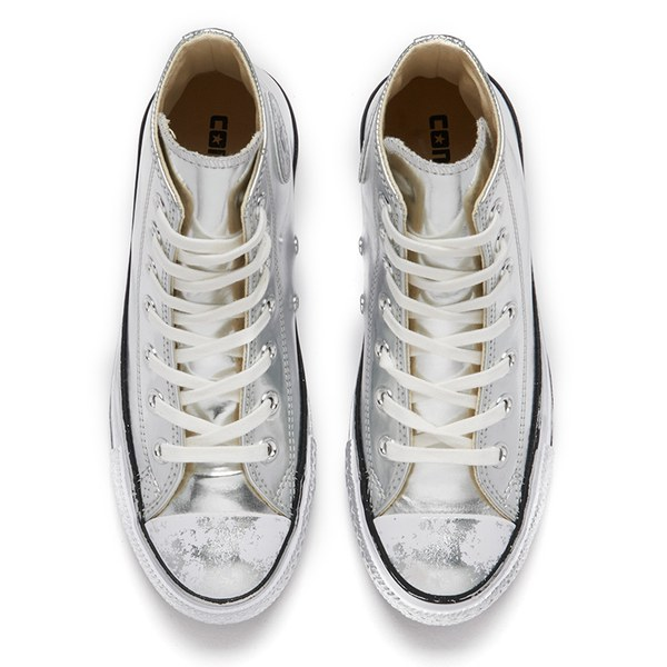 295c2dd7429 Converse Women s Chuck Taylor All Star Chrome Leather Hi-Top Trainers -  Silver White