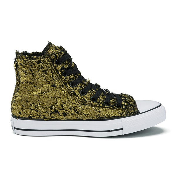 067aa250b24f Converse Women s Chuck Taylor All Star Sparkle Fur Hi-Top Trainers - Gold  Black