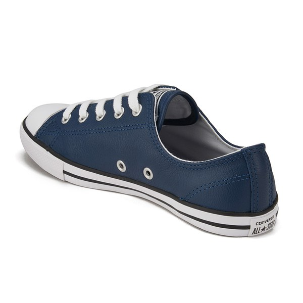 Converse Women s Chuck Taylor All Star Dainty Seasonal Leather Ox Trainers  - Nighttime Navy White 66c179639