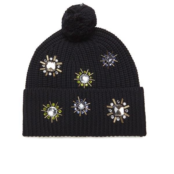 Markus Lupfer Women's Jewel Flower Beanie Hat - Black