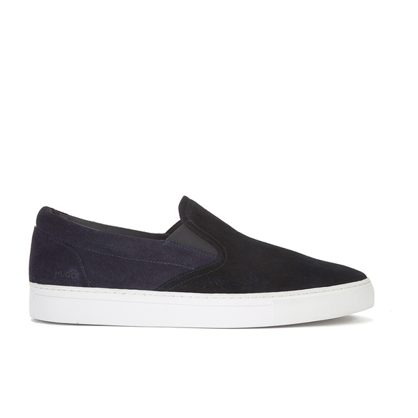 HUGO Men's Caslip Slip On Leather Trainers - Black