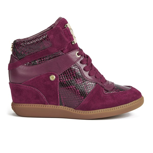 MICHAEL MICHAEL KORS Women's Nikko Printed Snake Leather/Suede Hi-Top Trainers - Merlot