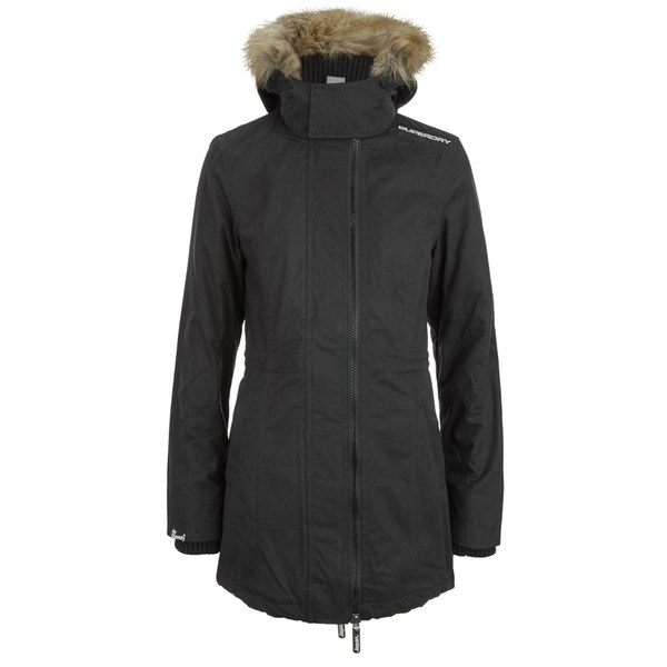 Superdry Women's Microfibre Tall Wind Parka Coat - Black Womens ...