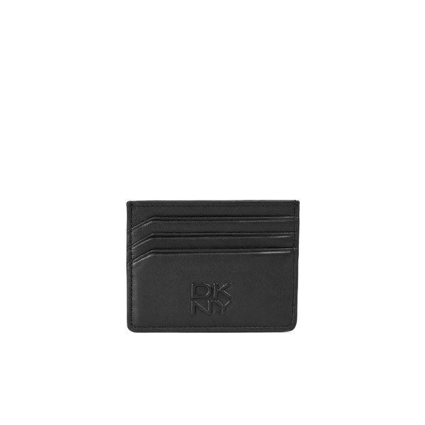 a14633a6cd122 DKNY Mens Card Holder with Embossed Logo - Black  Image 1