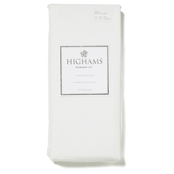 Highams 100% Egyptian Cotton Plain Dyed Deep Fitted Sheet - White