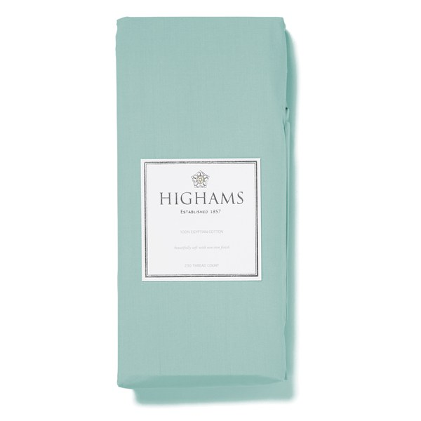 Highams 100% Egyptian Cotton Plain Dyed Deep Fitted Sheet - Duck Egg Blue