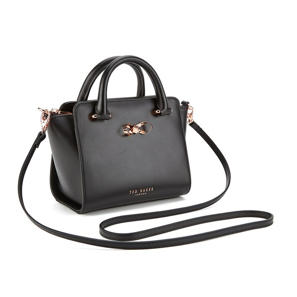 Ted Baker Women s Minibow Loop Bow Mini Leather Tote Bag - Black  Image 2 c236d9d094