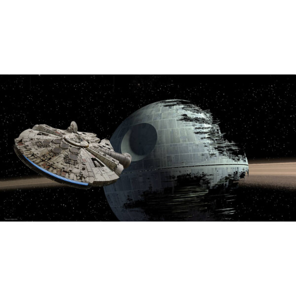 Star Wars Glass Poster - Millenium Falcon vs. Death Star (50 x 25cm)