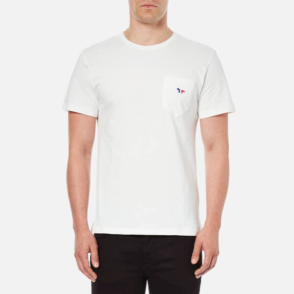 Maison Kitsuné Men's Tricolor Fox Patch T-Shirt - White