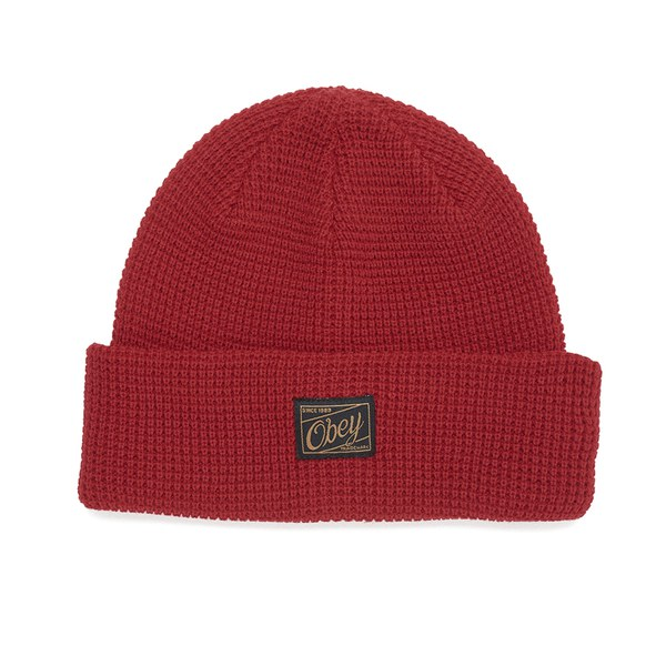OBEY Clothing Men's Roscoe Waffle Knitted Beanie - Red