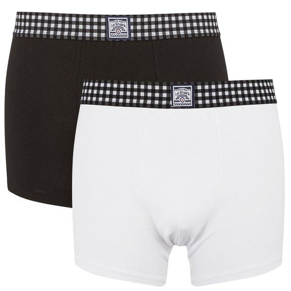 Le Shark Men's 2 Pack Checked Waistband Boxers - Black/White