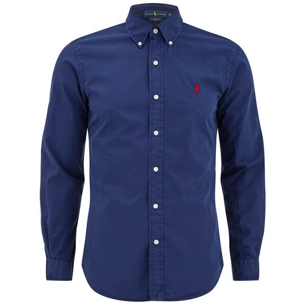 Polo Ralph Lauren Men\u0027s Plain Slim Fit Long Sleeve Shirt - Classic Navy:  Image 1