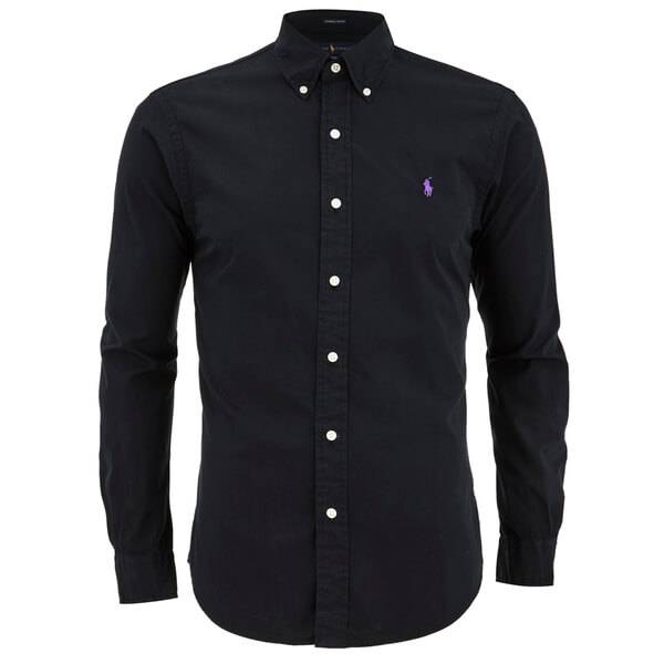 Polo Ralph Lauren Men's Plain Slim Fit Long Sleeve Shirt - Polo Black