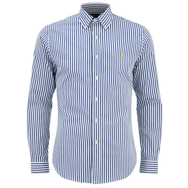 Polo Ralph Lauren Men's Slim Fit Stripe Long Sleeve Shirt - Blue/White