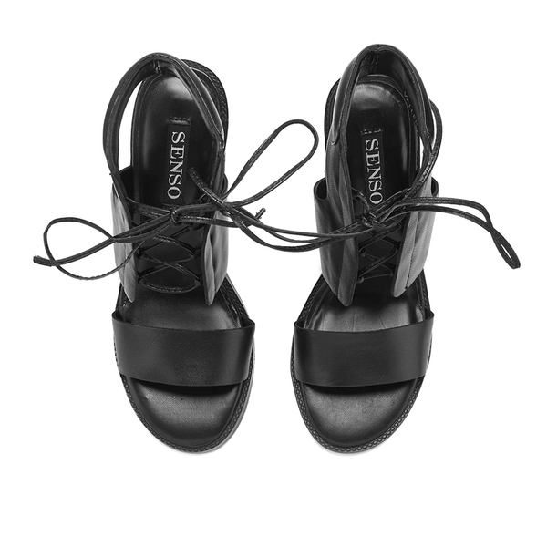 22ed16f4cb8 Senso Women s Valleri VI Leather Lace-up Heeled Sandals - Ebony  Image 2