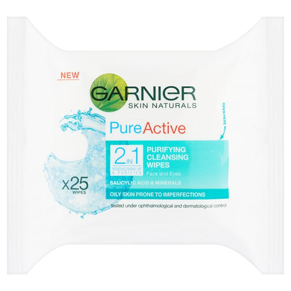 Garnier Pure 2-in-1 Wipes (25 Pack)