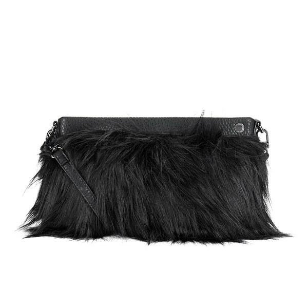 French Connection Women S Georgina Faux Fur Clutch Bag Black Shiny Image 1