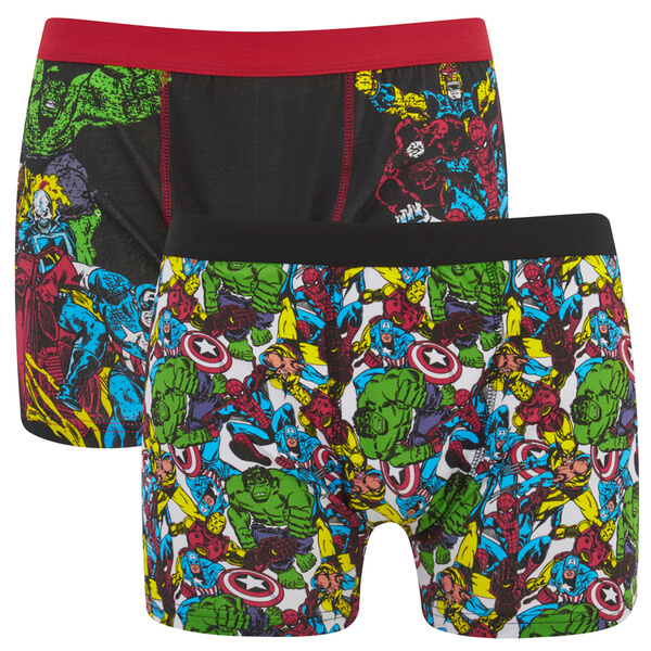 Marvel Men's 2 Pack All Over Print Boxers - Black