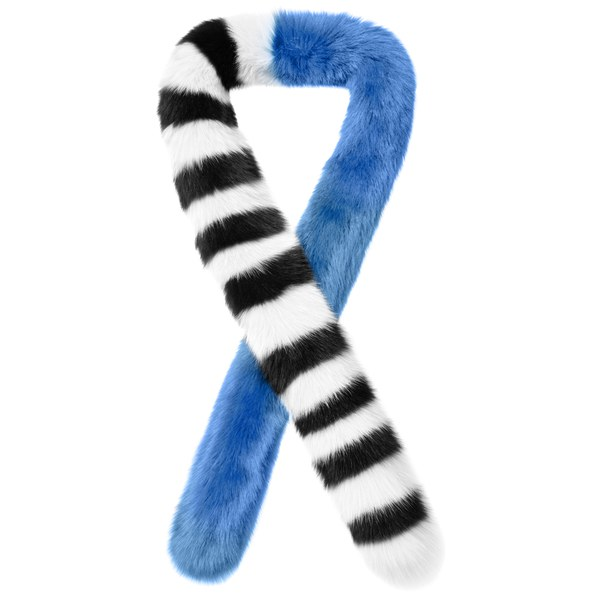 Charlotte Simone Women's Candy Cane Faux Fur Scarf - Black/White/Blue