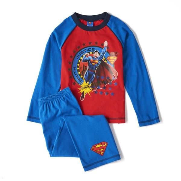 Marvel Superman Boy's Long Sleeve Pyjamas - Blue