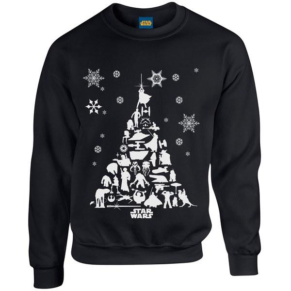 Star wars christmas tree sweatshirt black iwoot - Star wars weihnachtsbaum ...