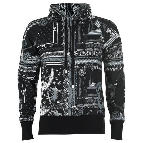 Versus Versace Men's All Over Print Zip Hoody - Black