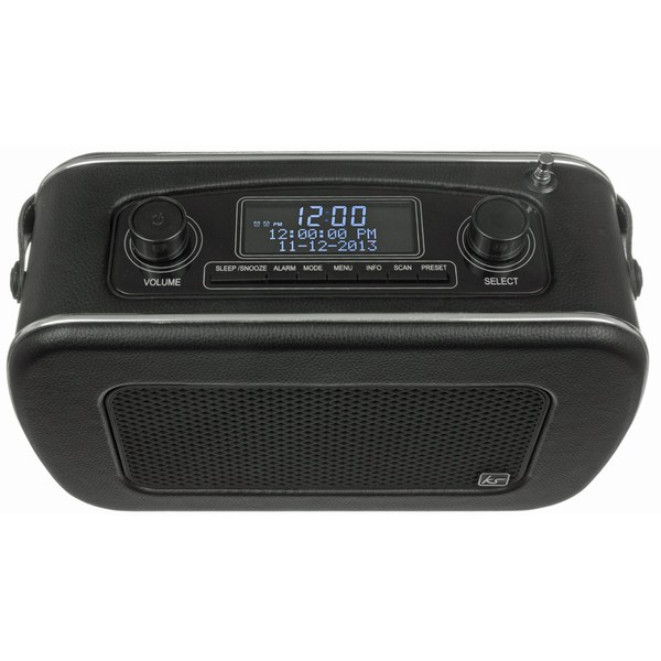 kitsound jive retro portable dab radio with alarm clock black iwoot. Black Bedroom Furniture Sets. Home Design Ideas