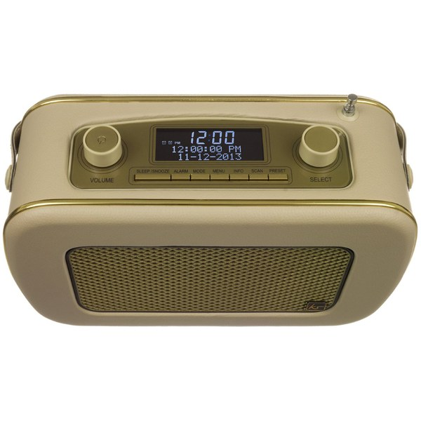 kitsound jive retro portable dab radio with alarm clock cream gold iwoot. Black Bedroom Furniture Sets. Home Design Ideas