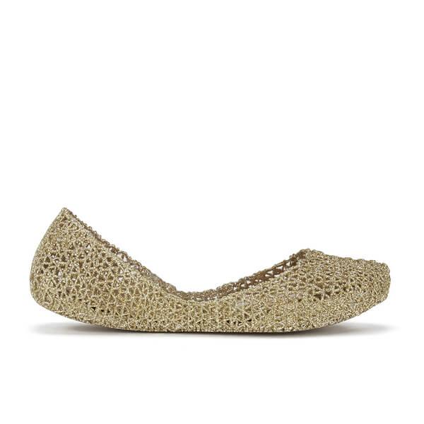 f2478c097c60 Melissa Women s Campana Papel 15 Ballet Flats - Soft Gold Glitter  Image 1