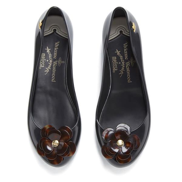 1cbe53895e Vivienne Westwood for Melissa Women's Ultragirl 15 Ballet Flats - Black  Tortoiseshell Flower: Image 2
