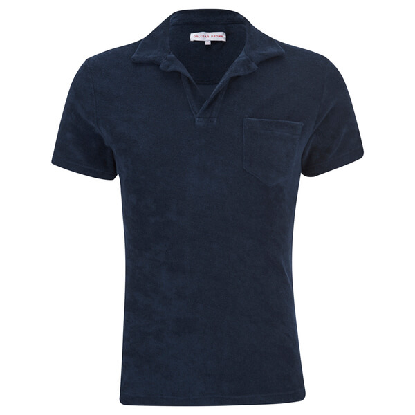 Orlebar brown men 39 s terry towelling polo shirt navy for Mens terry cloth polo shirt
