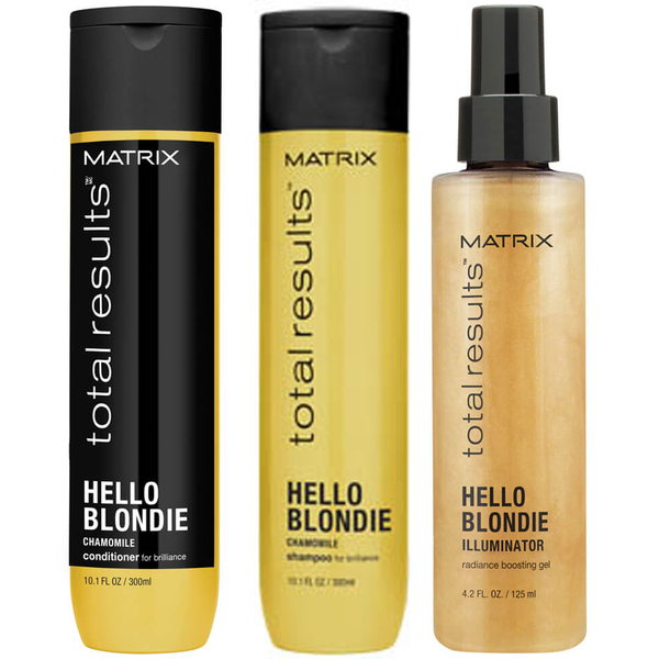 Matrix Total Results Hello Blondie Shampoo (300ml), Conditioner (300ml) and Illuminator (125ml)