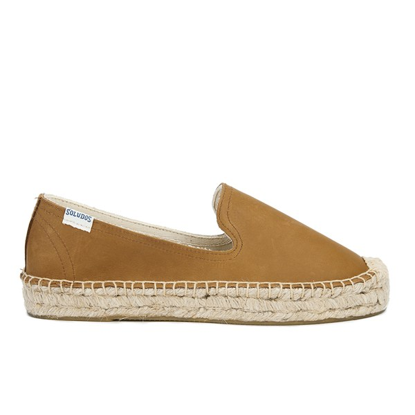Soludos Women's Leather Platform Espadrille Smoking Slippers - Tan