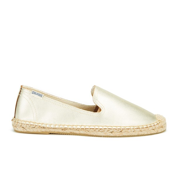 Soludos Women's Leather Espadrille Smoking Slippers - Metallic Platinum