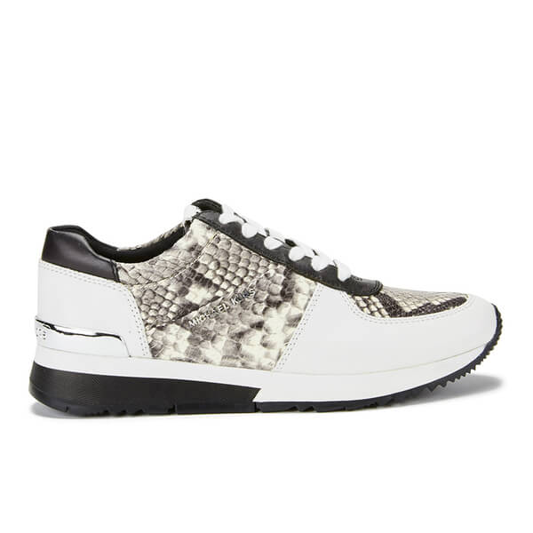 MICHAEL MICHAEL KORS Women's Allie Embossed Printed Snake Trainers - Natural