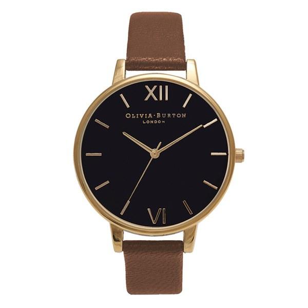 Olivia Burton Women's Big Dial Watch Black Dial - Tan/Gold