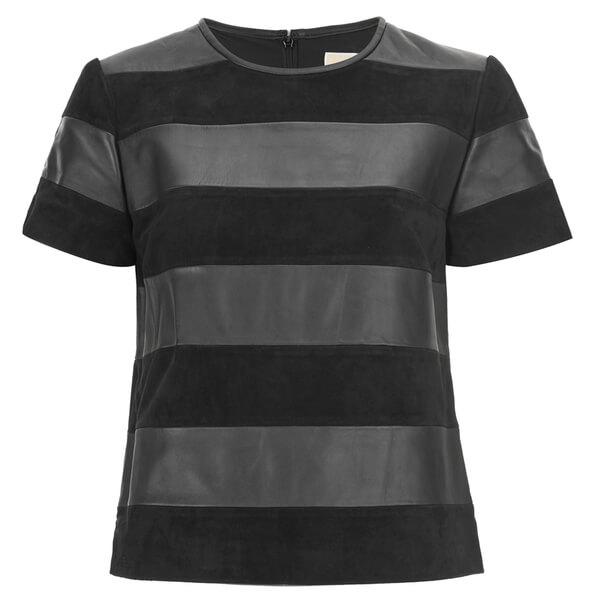 MICHAEL MICHAEL KORS Women's Combo Fabric T-Shirt -Black
