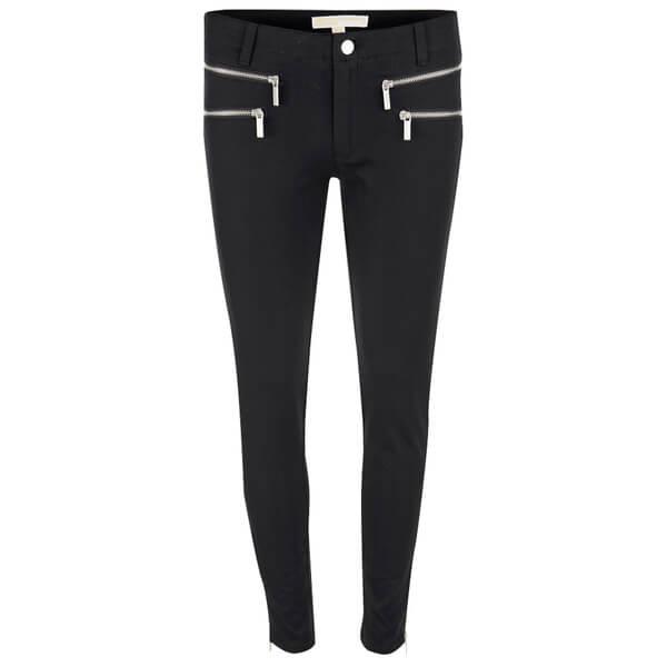MICHAEL MICHAEL KORS Women's Rockr Zip Skinny Pant - Black/Silver