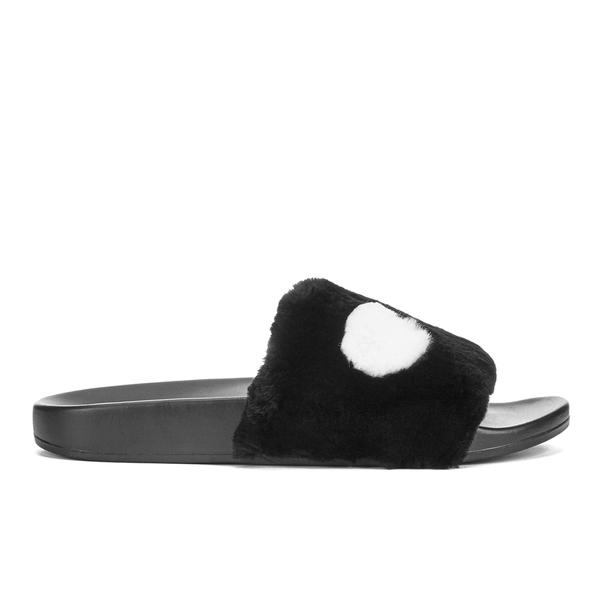 Marc by Marc Jacobs Women's Dot Fur Slide Sandals - Black