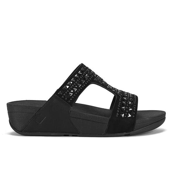 71900bd34d9a6b FitFlop Women s Carmel Slide Suede Sandals - All Black  Image 1
