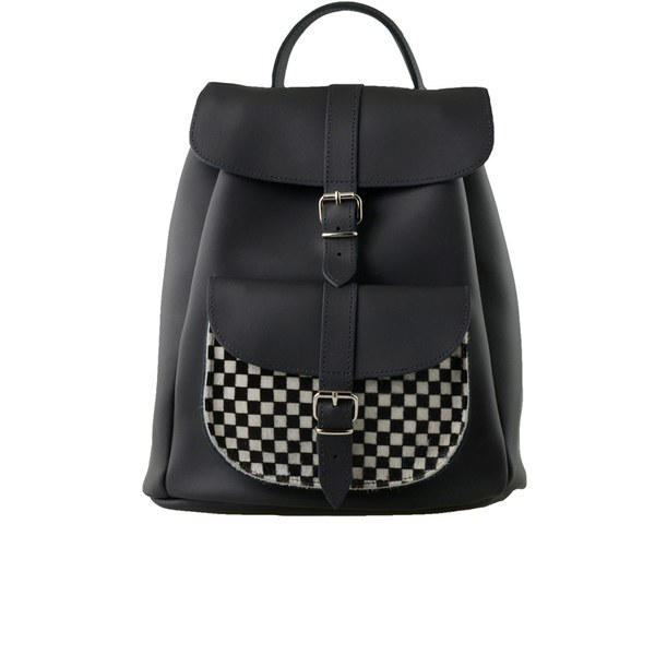 Grafea Checkers Leather Backpack - Black