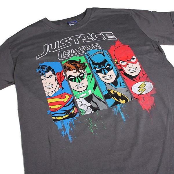 DC Comics Menu0026#39;s Justice League T-Shirt - Charcoal Merchandise | Zavvi