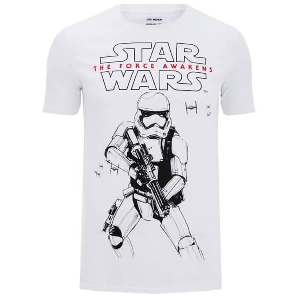 t shirt homme star wars stormtrooper esquisse blanc merchandise. Black Bedroom Furniture Sets. Home Design Ideas
