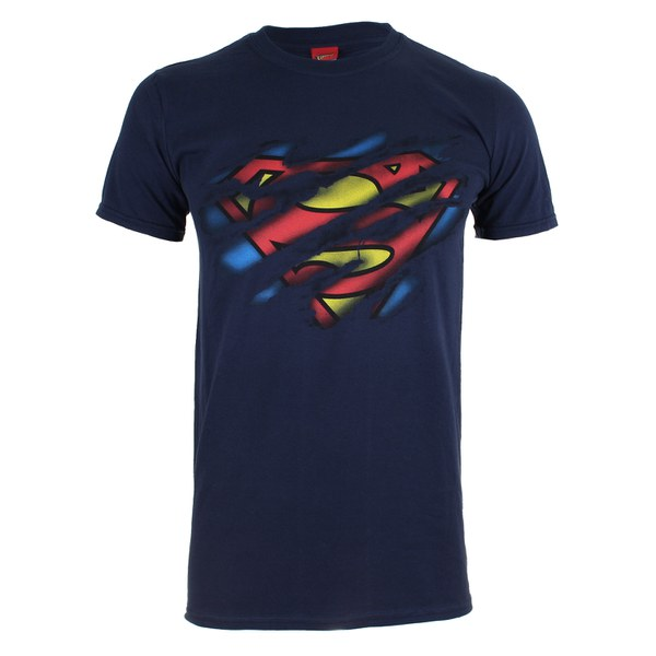 DC Comics Men's Superman Torn Logo T-Shirt - Navy