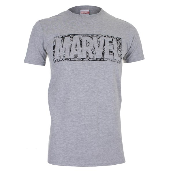 Marvel Men's Strip Logo T-Shirt - Sport Grey