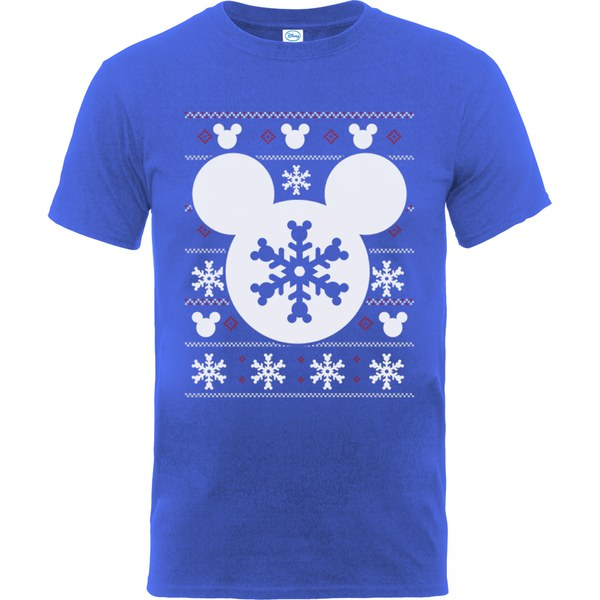 Disney mickey mouse men 39 s christmas silhouette snowflake t for Oversized disney t shirts