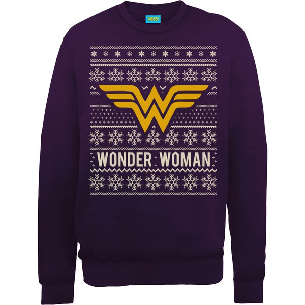 dc comics wonder woman christmas sweatshirt purple