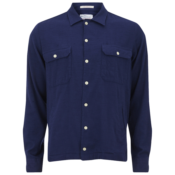 GANT Rugger Men's Slub Flannel Army Long Sleeve Shirt - Thunder Blue