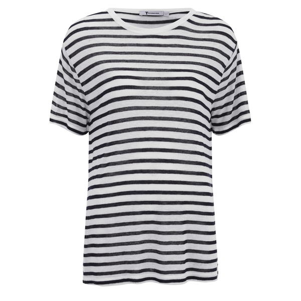 T by Alexander Wang Women's Stripe Rayon Linen Short Sleeve T-Shirt - Ink and Ivory