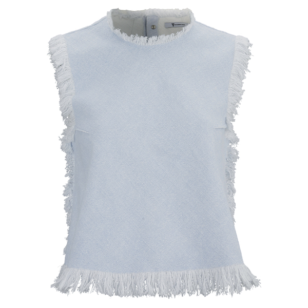 T by Alexander Wang Women's Frayed Burlap Sleeveless Crop Top - Sky